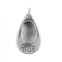 Tear Drop Fingerprint Charm And Small Smooth Finish Bangle